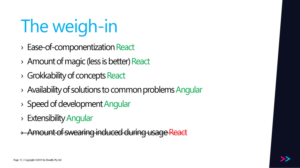 Page The weigh-in › Ease-of-componentization Re...