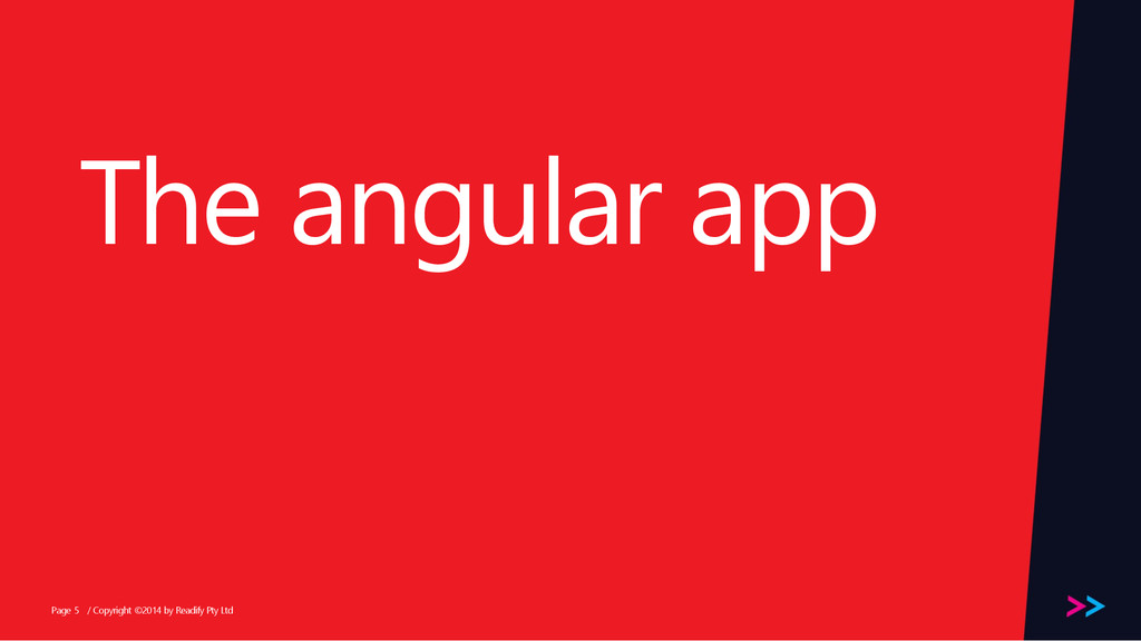 Page The angular app / Copyright ©2014 by Readi...