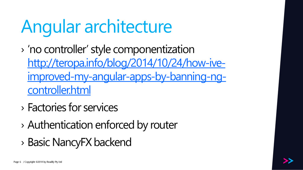 Page Angular architecture › 'no controller' sty...