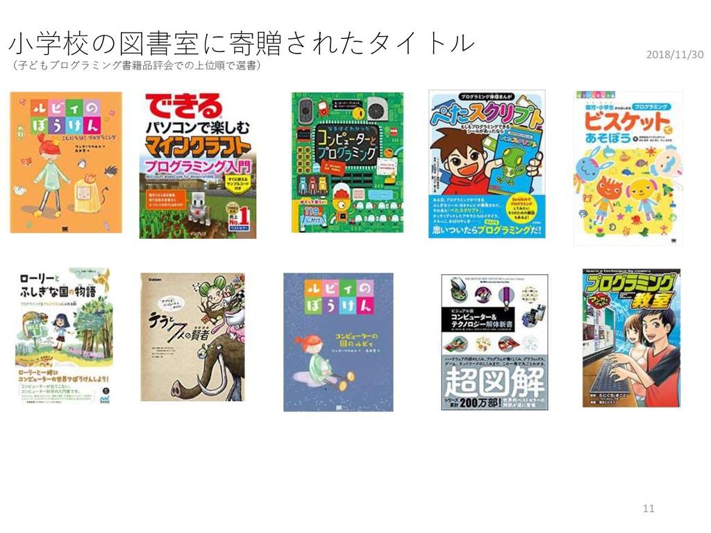 小学校の図書室に寄贈されたタイトル (子どもプログラミング書籍品評会での上位順で選書) 201...