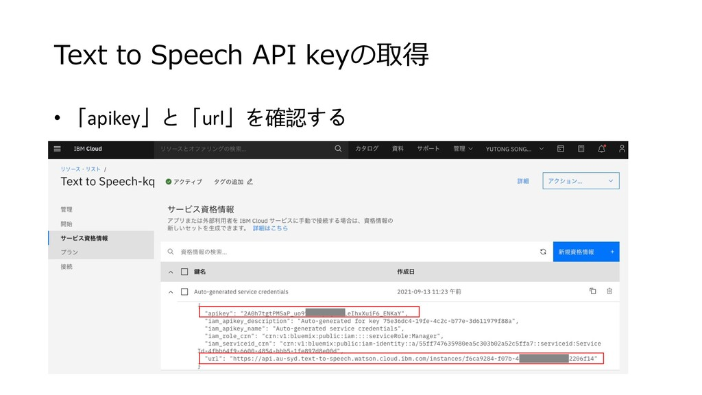 • 「apikey」と「url」を確認する Text to Speech API keyの取得