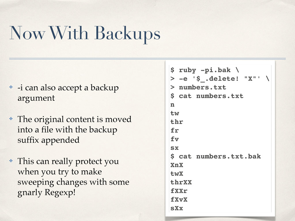 Now With Backups ✤ -i can also accept a backup ...