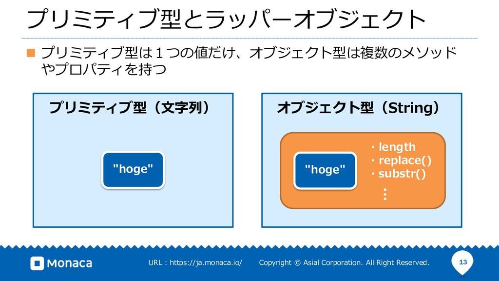"""プリミティブ型とラッパーオブジェクト プリミティブ型(文字列) """"hoge"""" オブジェクト型(..."""