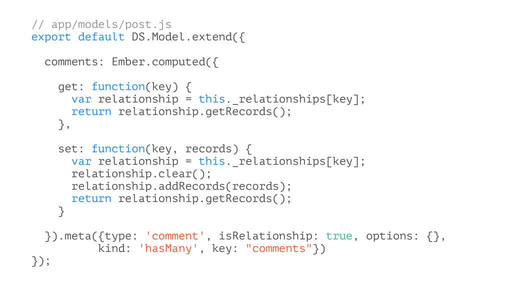 // app/models/post.js export default DS.Model.e...