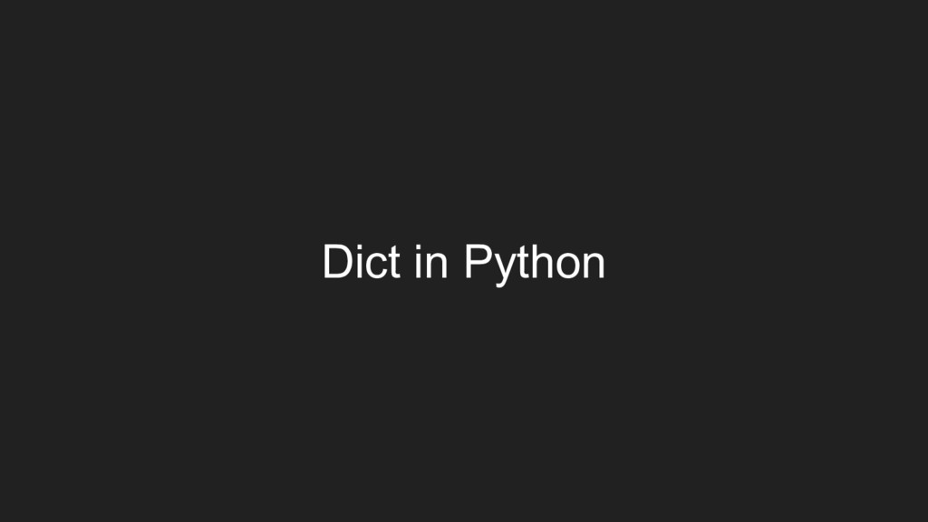 Dict in Python