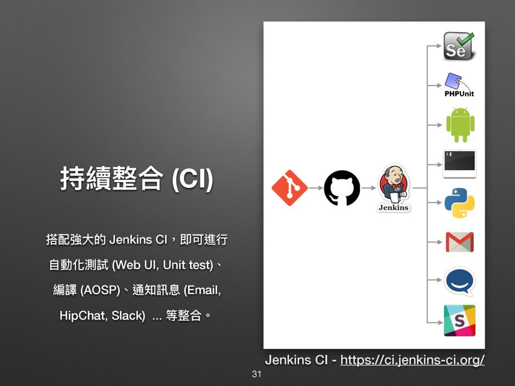 瞱媲碉ݳ (CI) 砇蟴䔶य़ጱ Jenkins CI牧ܨݢ蝱ᤈ ᛔ㵕玕介手 (Web UI,...