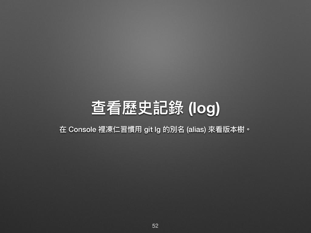 礚፡稲ݥ懿袅 (log)  Console 愊㲺Ռ聜䙼አ git lg ጱ獨ݷ (alias...