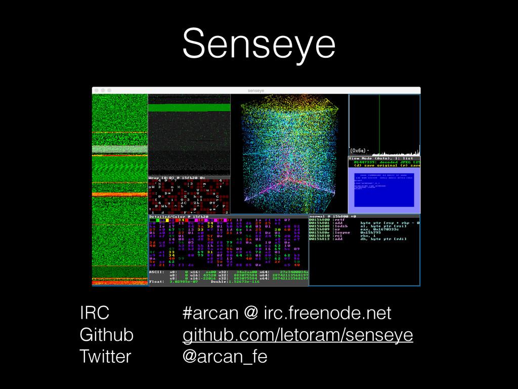 Senseye IRC Github Twitter #arcan @ irc.freenod...