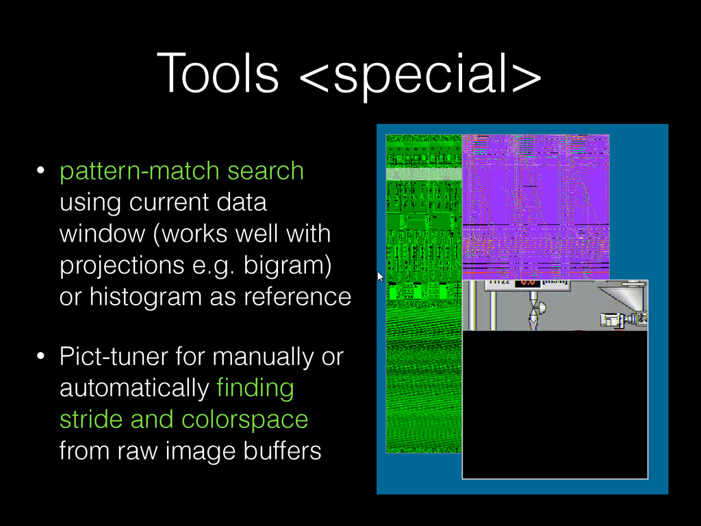 Tools <special> • pattern-match search using cu...