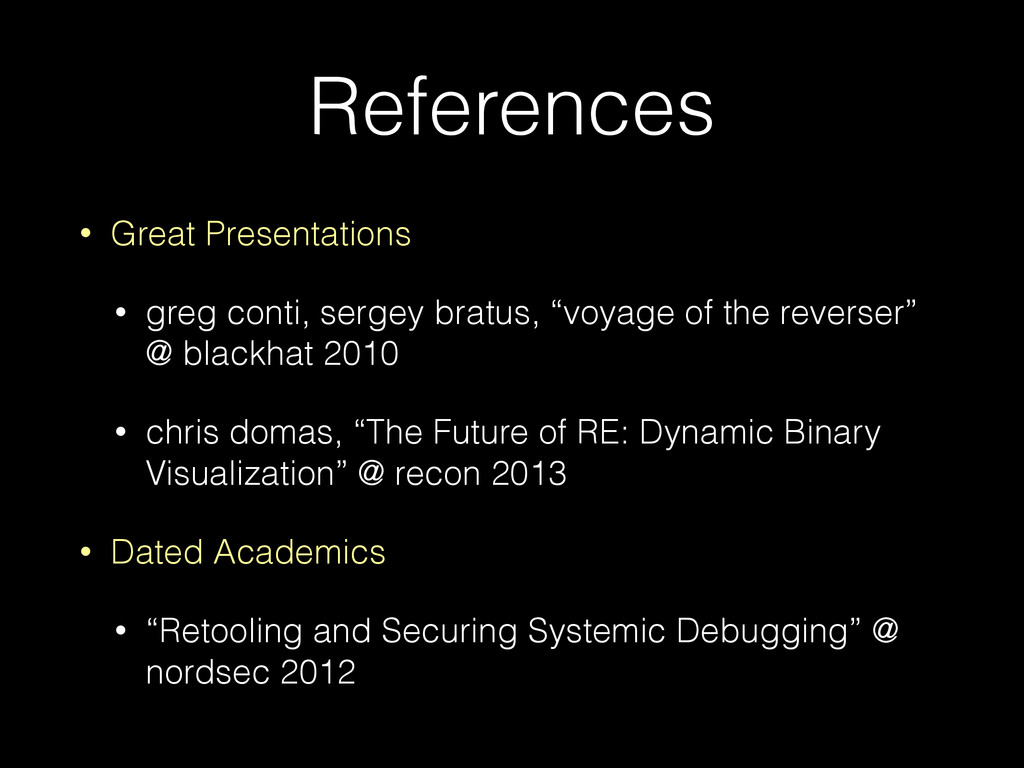 References • Great Presentations • greg conti, ...
