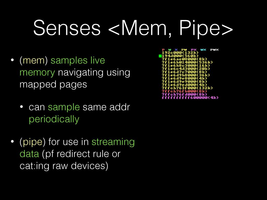Senses <Mem, Pipe> • (mem) samples live memory ...