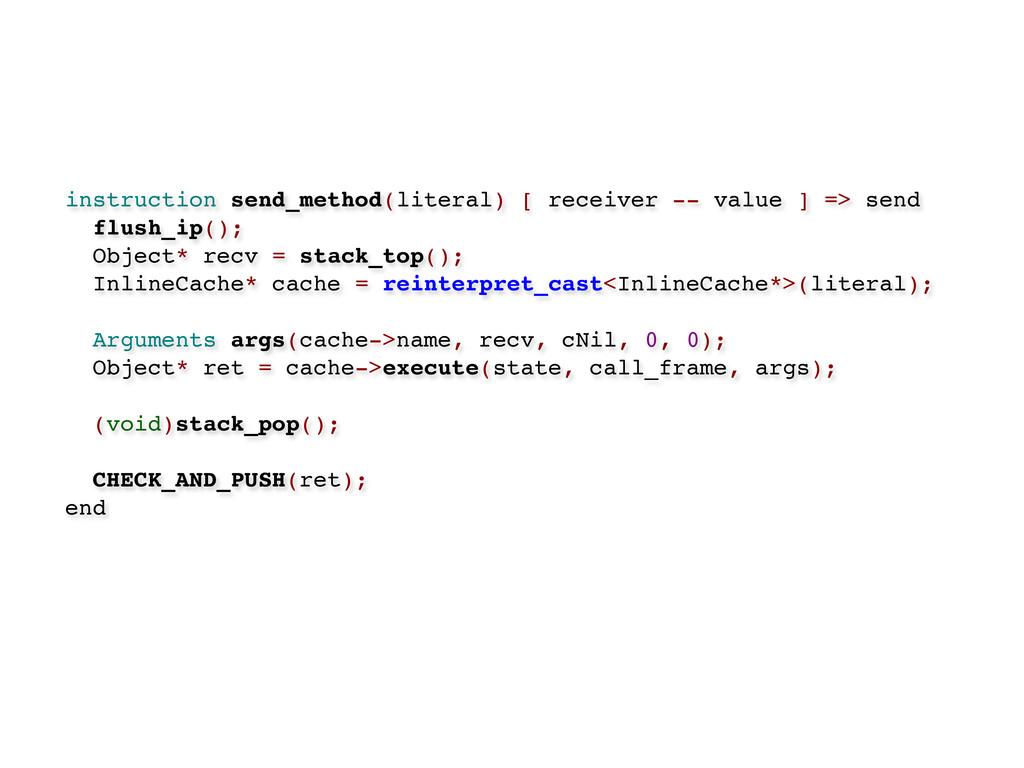 instruction send_method(literal) [ receiver -- ...