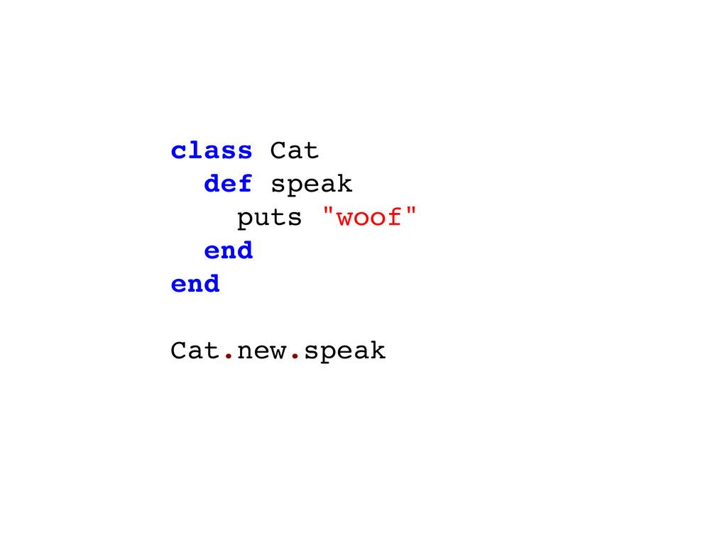"""class Cat def speak puts """"woof"""" end end Cat.new..."""