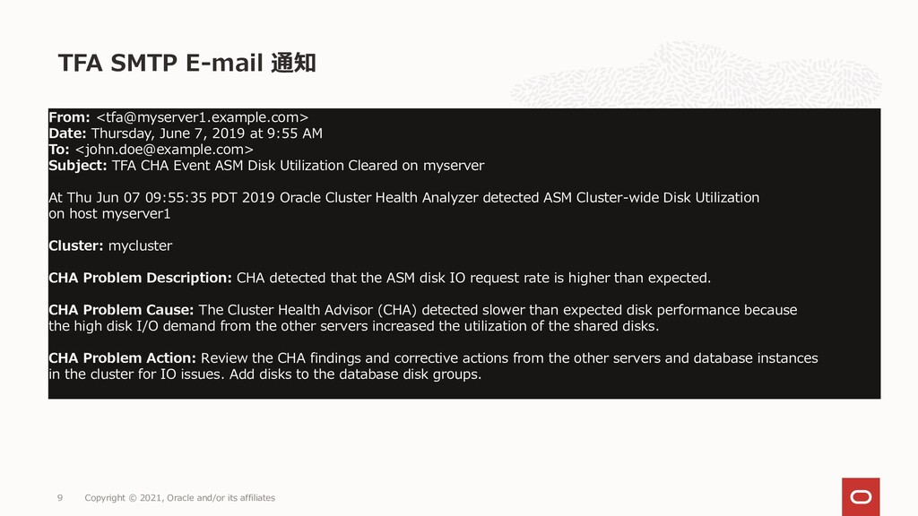TFA SMTP E-mail 通知 Copyright © 2021, Oracle and...