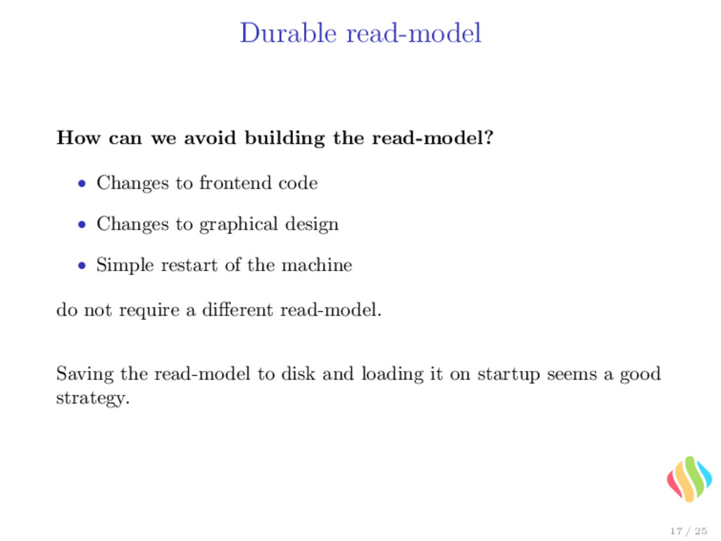 Durable read-model How can we avoid building th...
