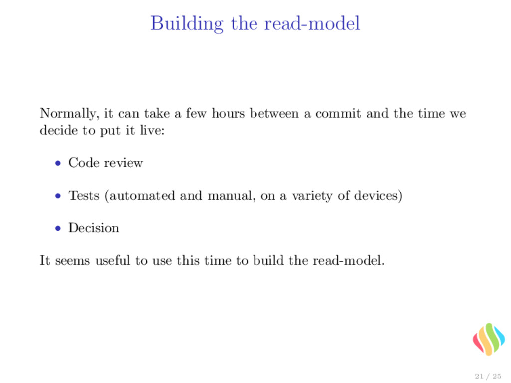 Building the read-model Normally, it can take a...