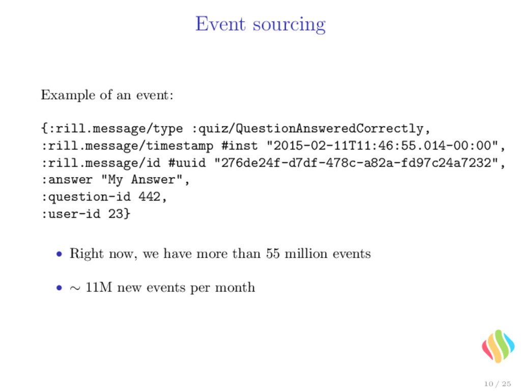 Event sourcing Example of an event: {:rill.mess...
