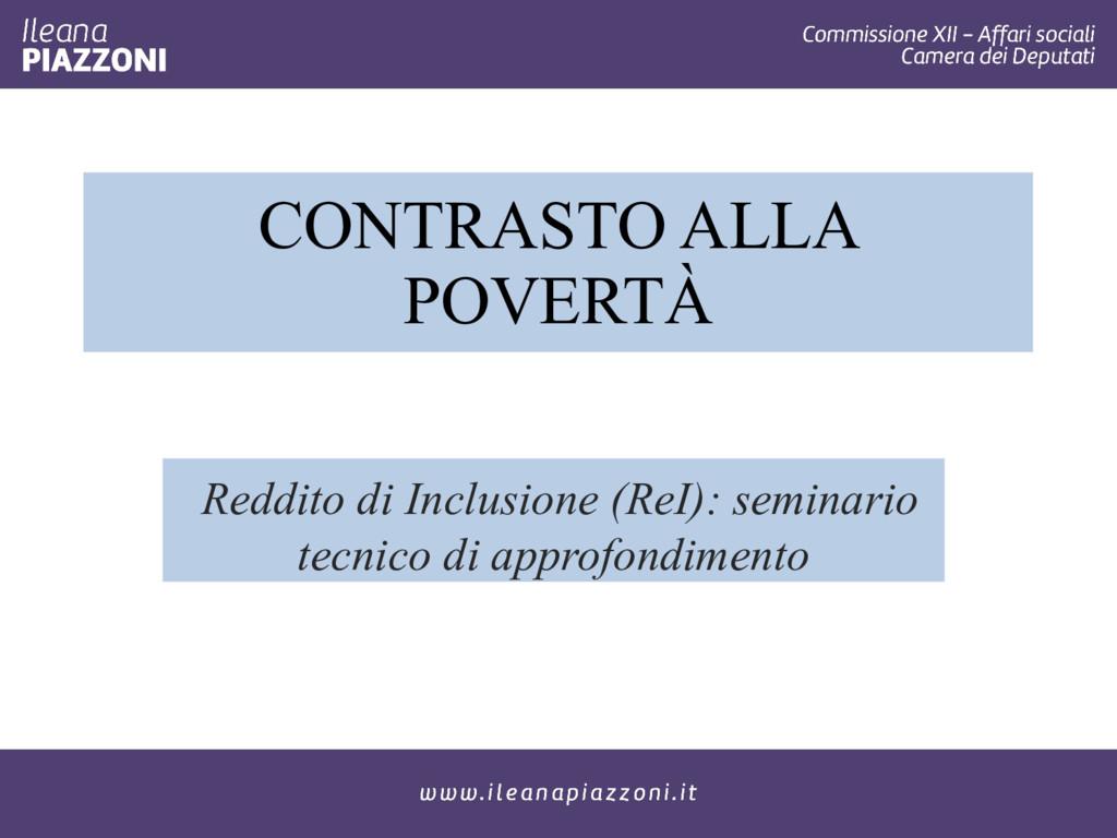 CONTRASTO ALLA POVERTÀ Reddito di Inclusione (R...
