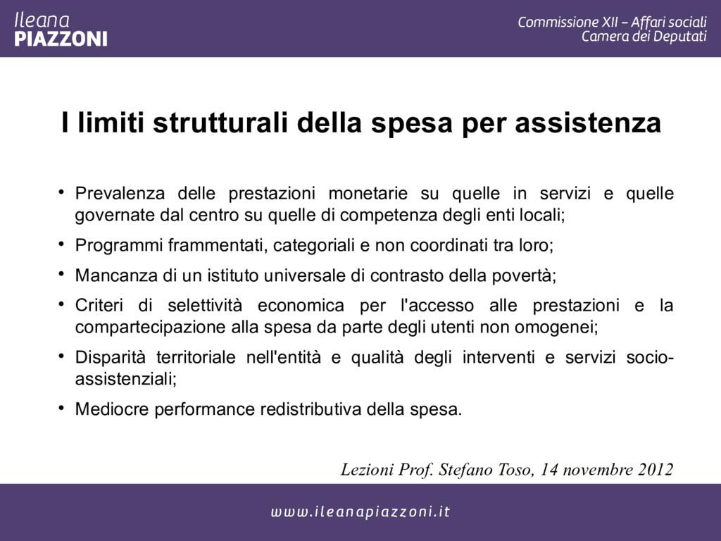 I limiti strutturali della spesa per assistenza...