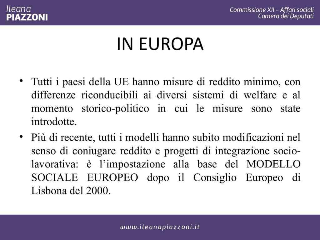 IN EUROPA • Tutti i paesi della UE hanno misure...