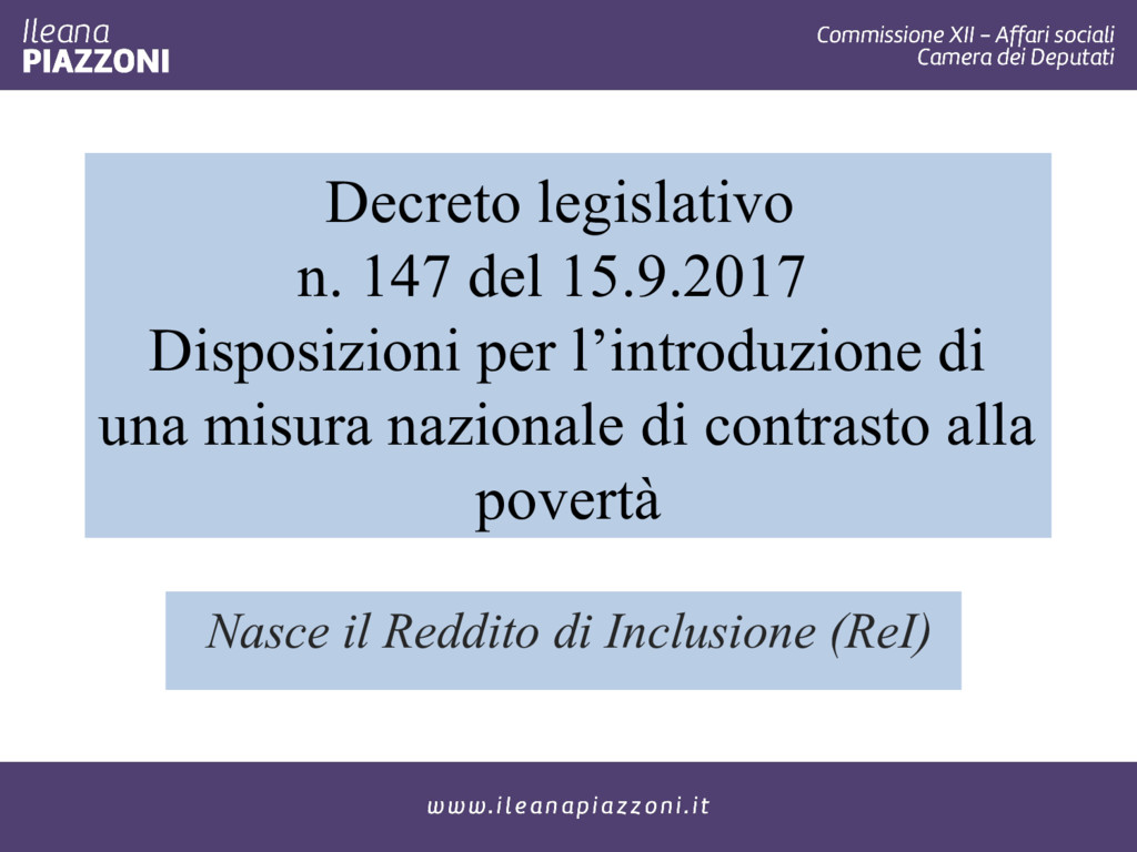 Decreto legislativo n. 147 del 15.9.2017 Dispos...