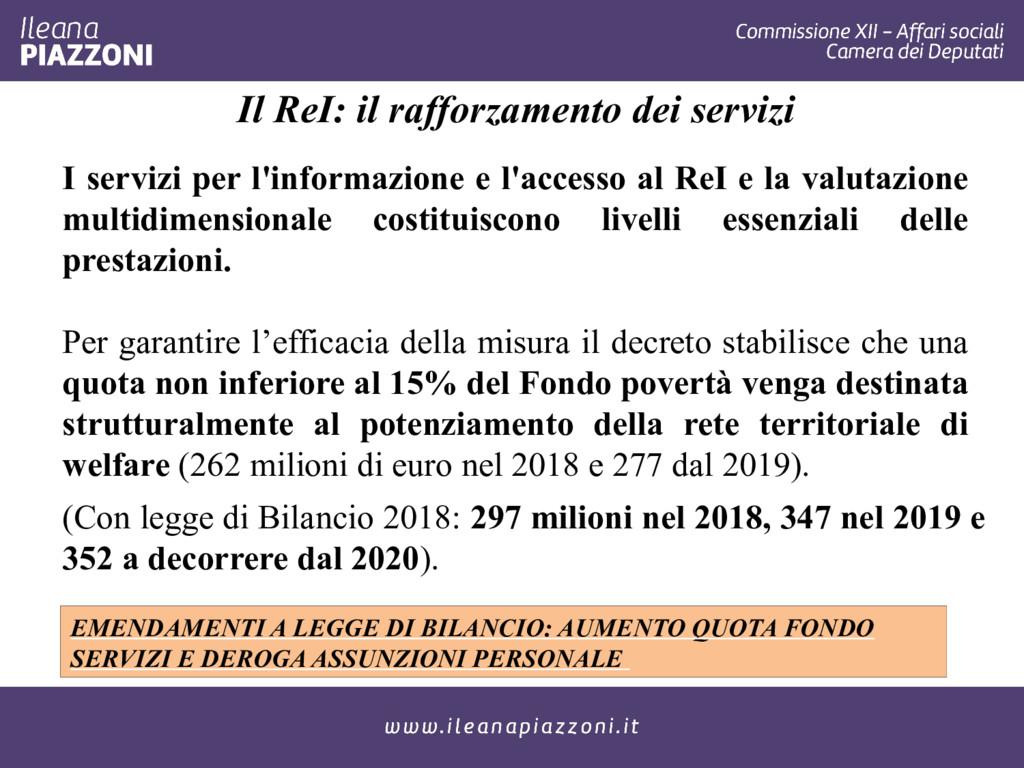 Il ReI: il rafforzamento dei servizi I servizi ...