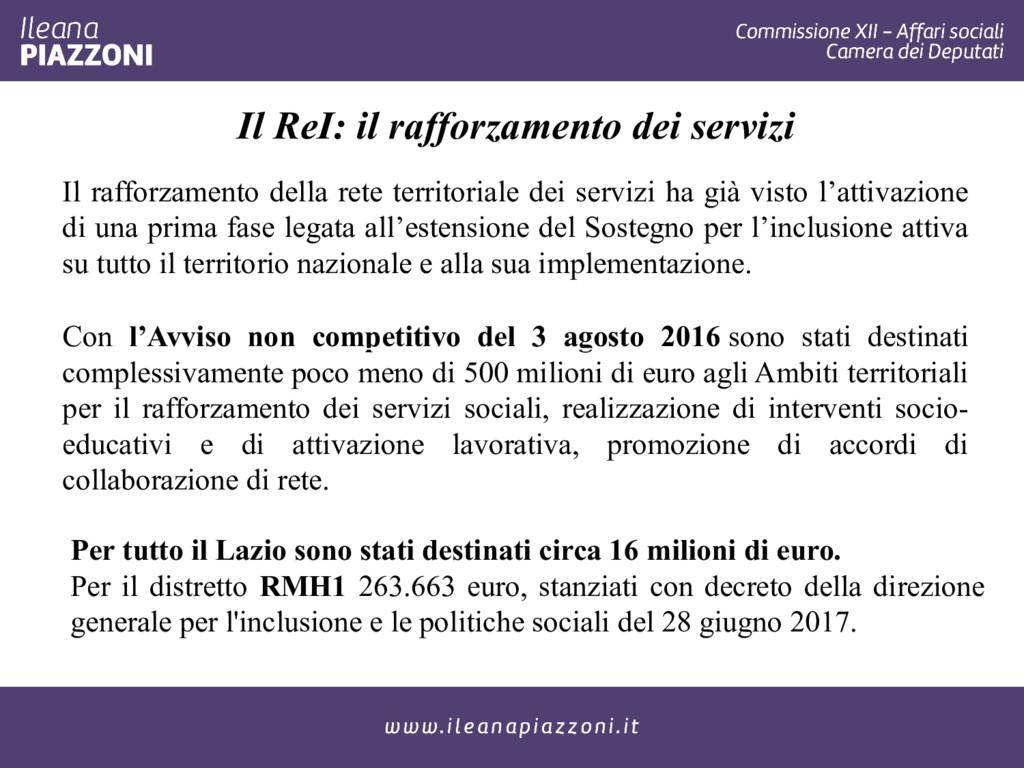 Il ReI: il rafforzamento dei servizi Il rafforz...