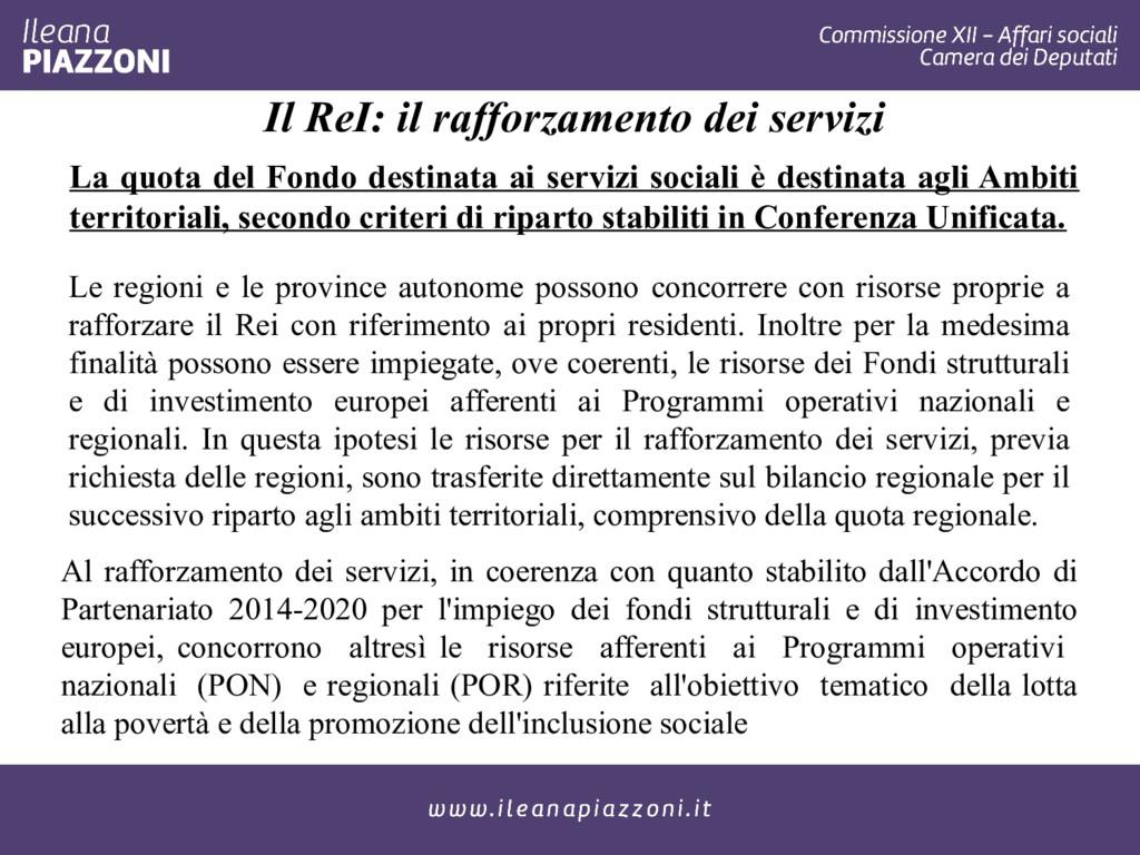Il ReI: il rafforzamento dei servizi Le regioni...