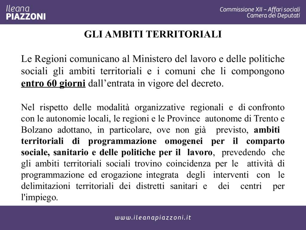 GLI AMBITI TERRITORIALI Le Regioni comunicano a...