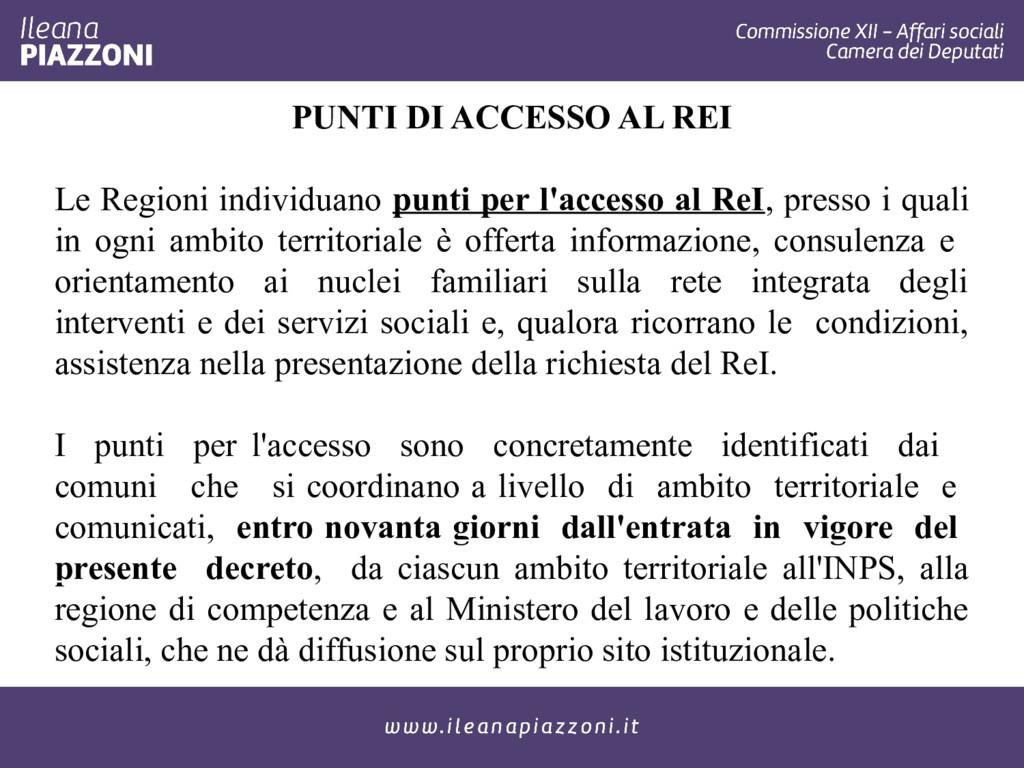 PUNTI DI ACCESSO AL REI Le Regioni individuano ...