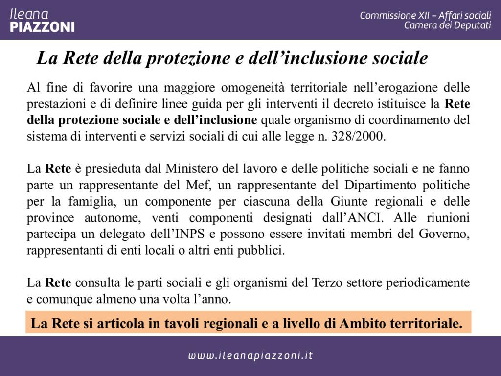 La Rete della protezione e dell'inclusione soci...