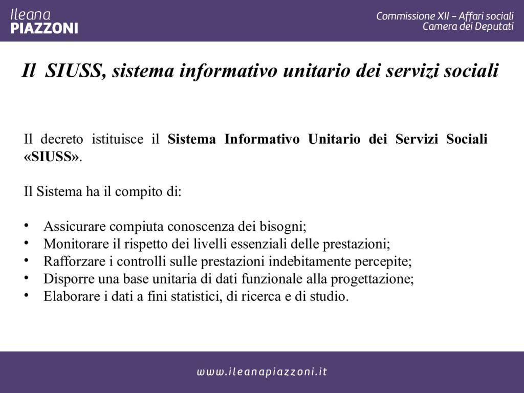 Il SIUSS, sistema informativo unitario dei serv...
