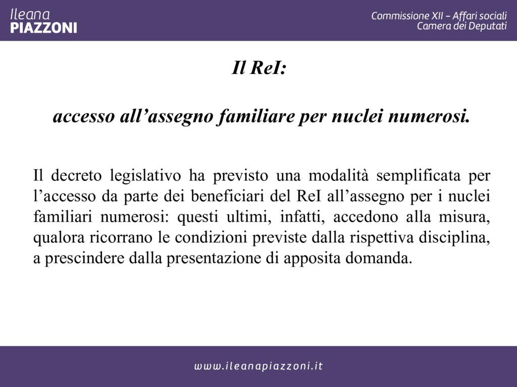 Il ReI: accesso all'assegno familiare per nucle...