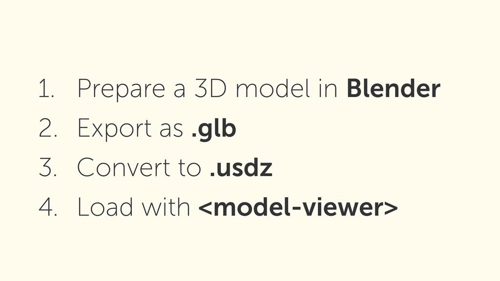 1. Prepare a 3D model in Blender 2. Export as ....