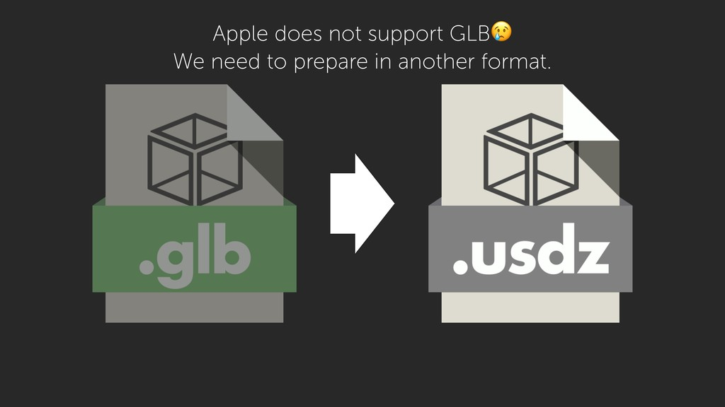 Apple does not support GLB We need to prepare i...