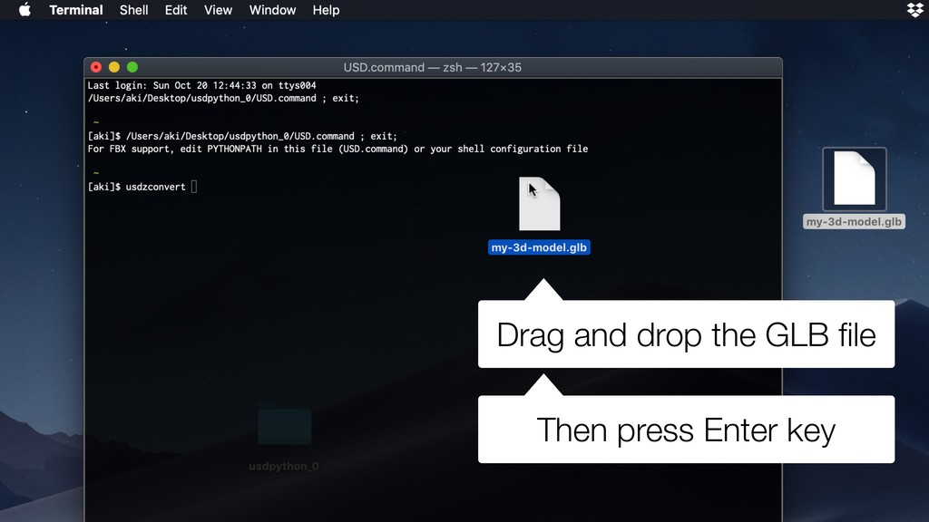 Drag and drop the GLB file Then press Enter key