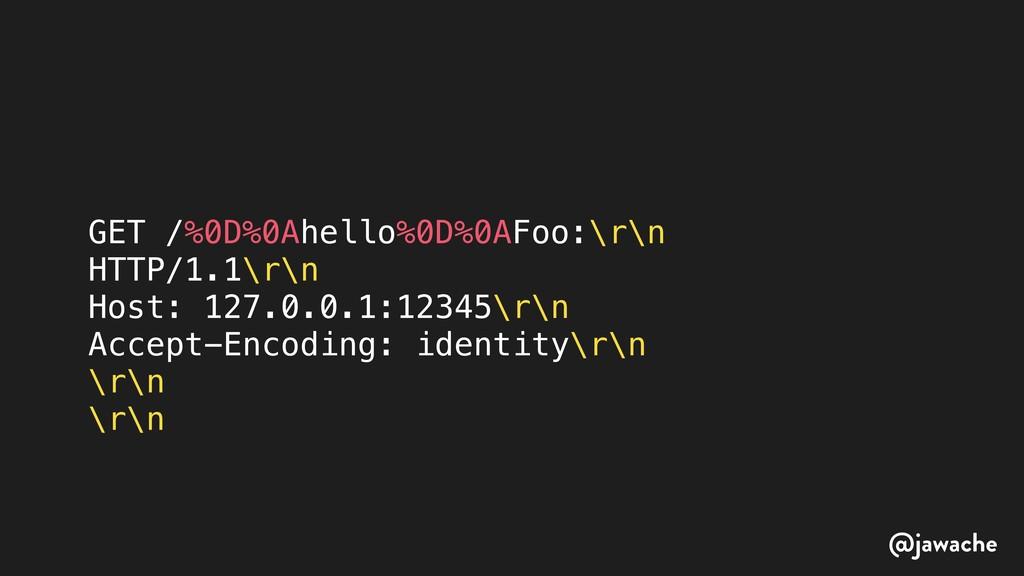 GET /%0D%0Ahello%0D%0AFoo:\r\n HTTP/1.1\r\n Hos...