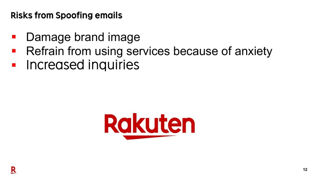 12 Risks from Spoofing emails § Damage brand im...