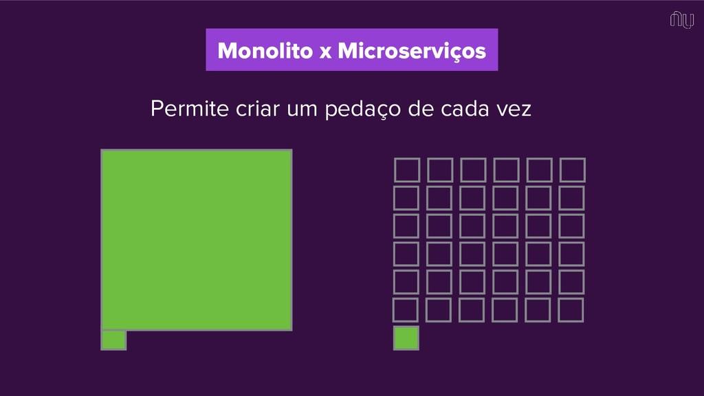 Permite criar um pedaço de cada vez Monolito x ...