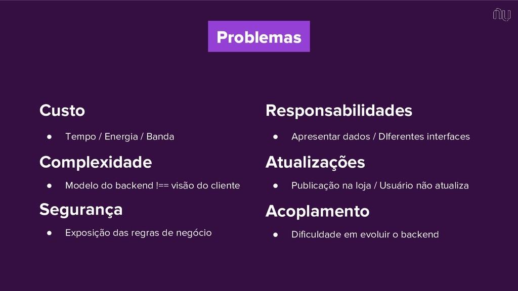 Problemas Custo ● Tempo / Energia / Banda Compl...
