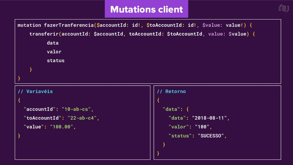 mutation fazerTranferencia($accountId: id!, $to...