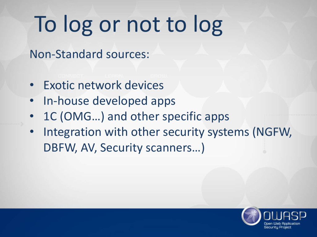 To log or not to log Non-Standard sources: • Ex...