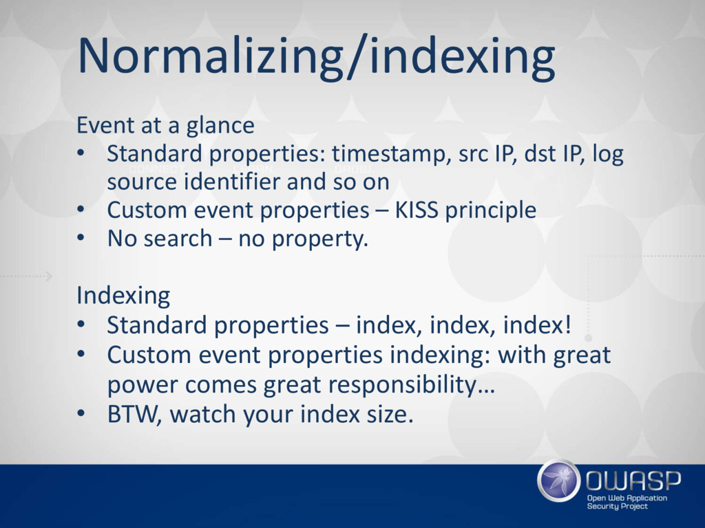 Normalizing/indexing Event at a glance • Standa...