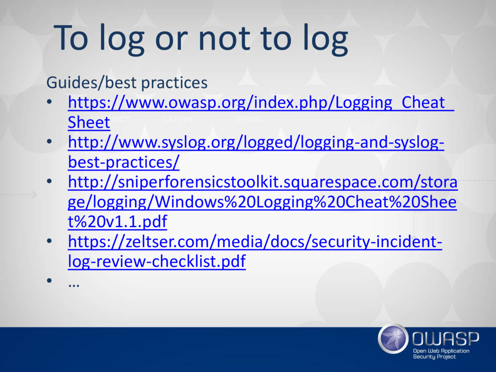 To log or not to log Guides/best practices • ht...