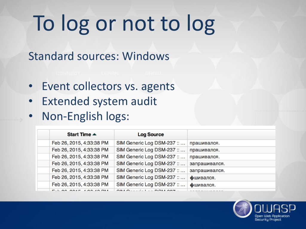 To log or not to log Standard sources: Windows ...