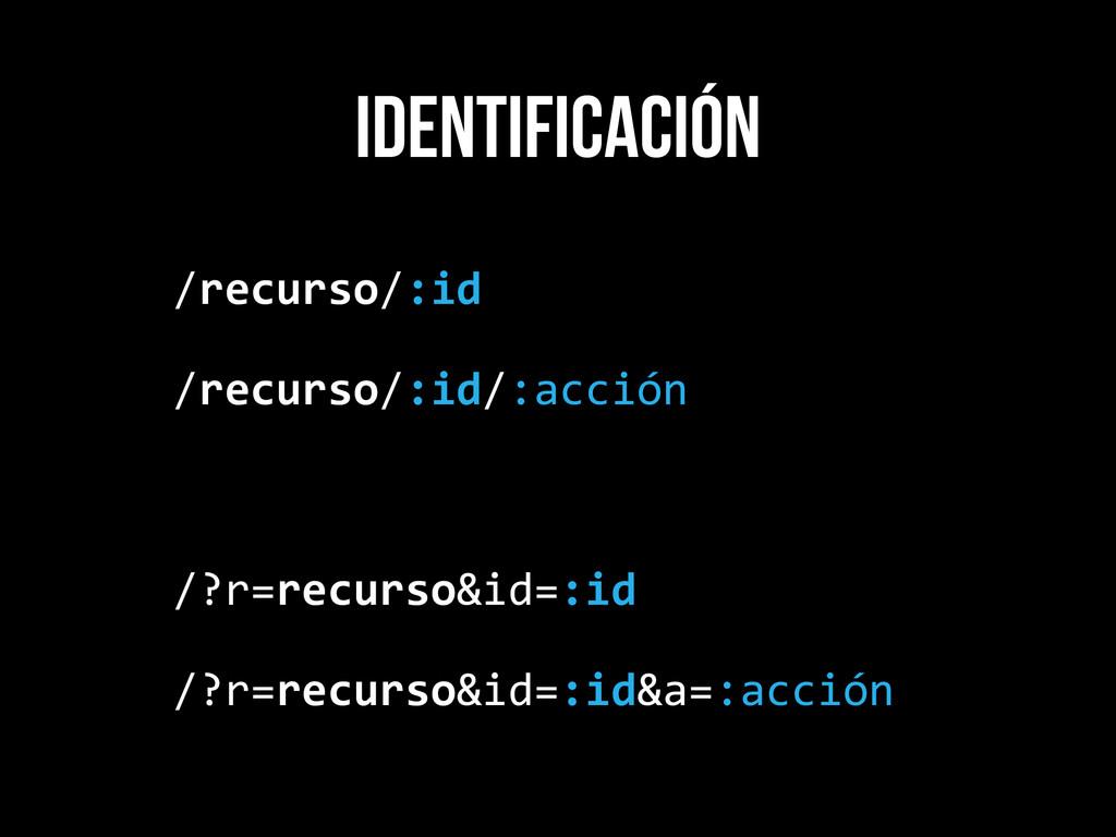 identificación /recurso/:id  /recurso/:id/:a...