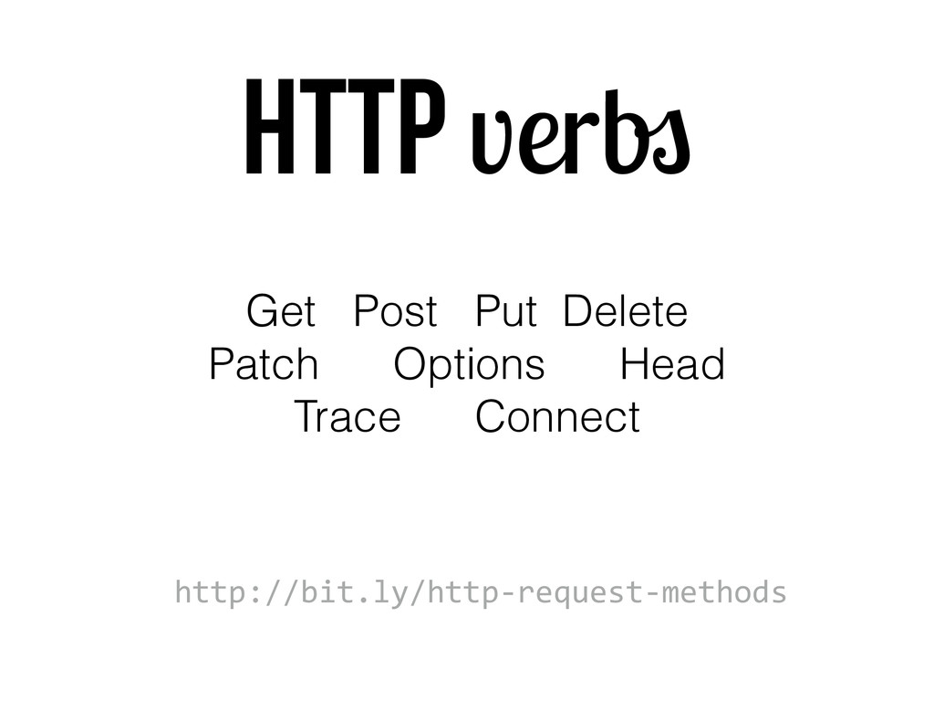 HTTP verbs Get Post Put Delete Patch Options He...