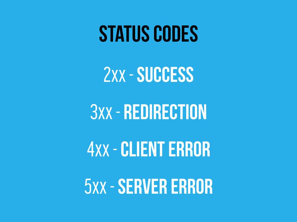 status codes 2xx - Success 3xx - Redirection 4x...