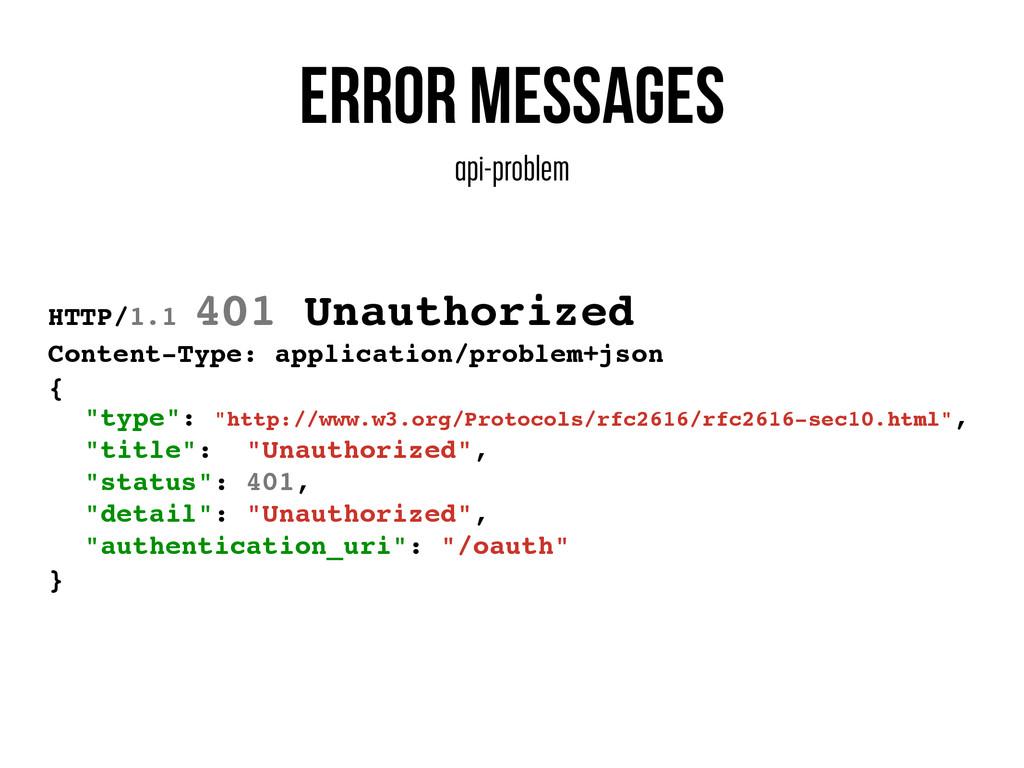 Error messages api-problem HTTP/1.1 401 Unautho...