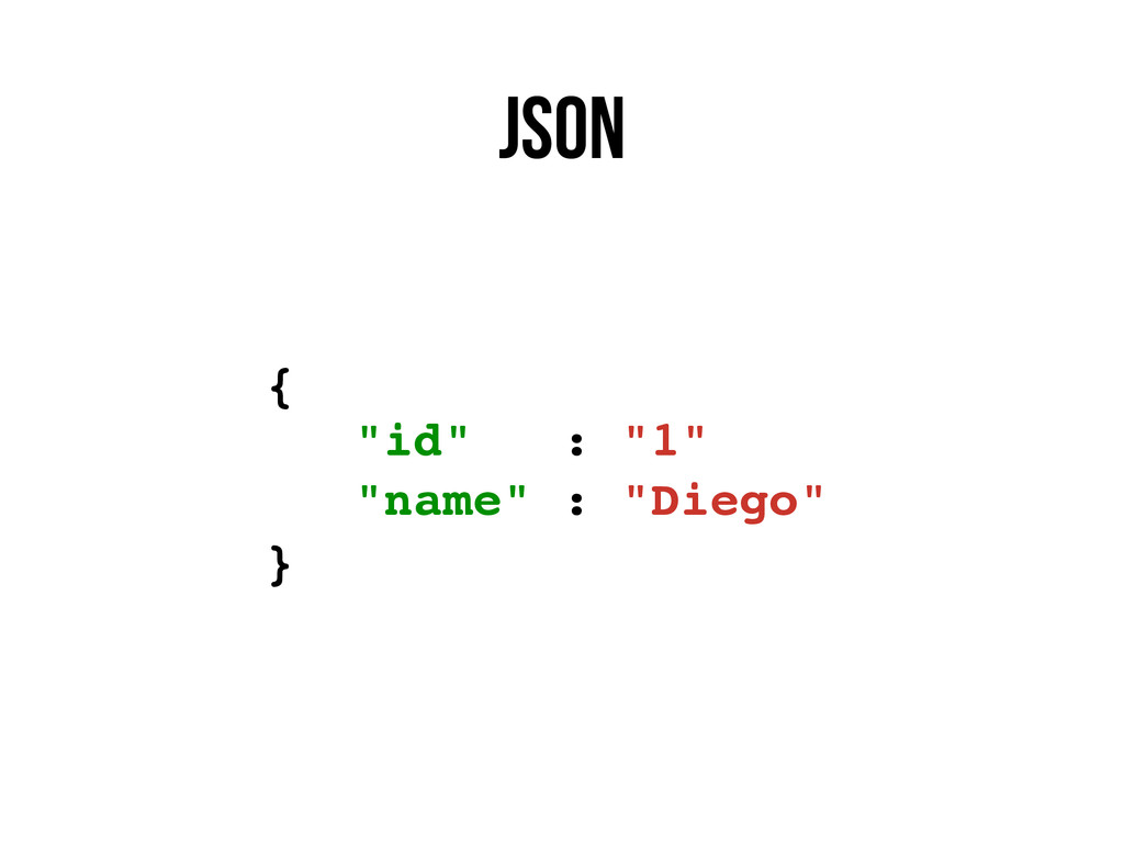 "json { ""id"" : ""1"" ""name"" : ""Diego"" }"
